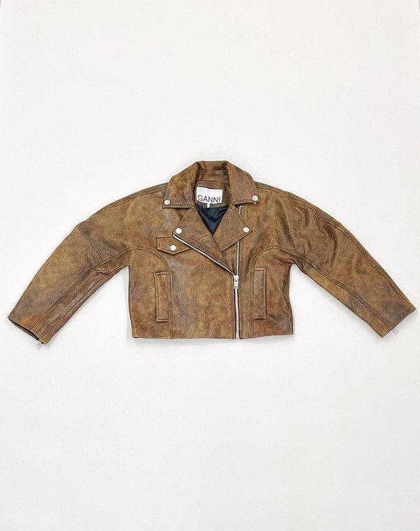 Ganni Leather Short Jacket - Cognac
