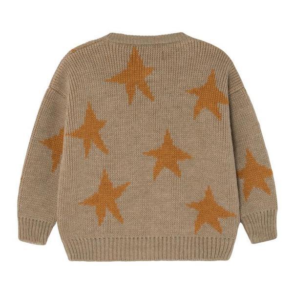 KIDS UNISEX Bobo Choses Child Cardigan - Jacquard Yellow Stars Brown