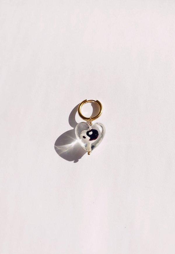 Ninfa Handmade Balance Heart Hoops - Gold