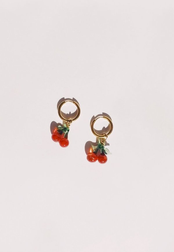 Ninfa Handmade Cherries Hoops - Gold