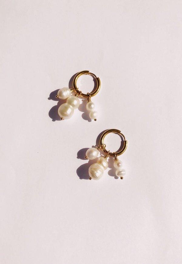 Ninfa Handmade Constantina Hoops - Pearls/Gold