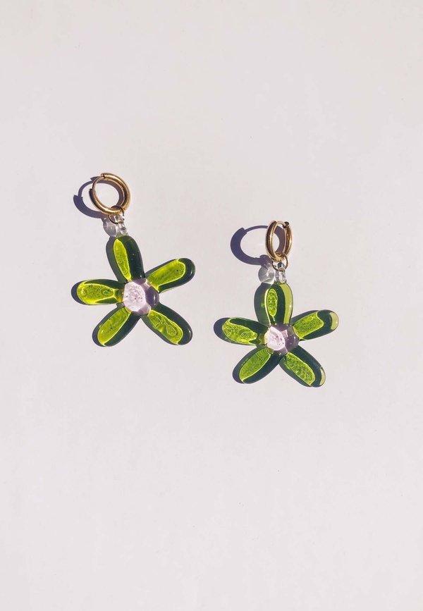 Flower Hoops - green/gold