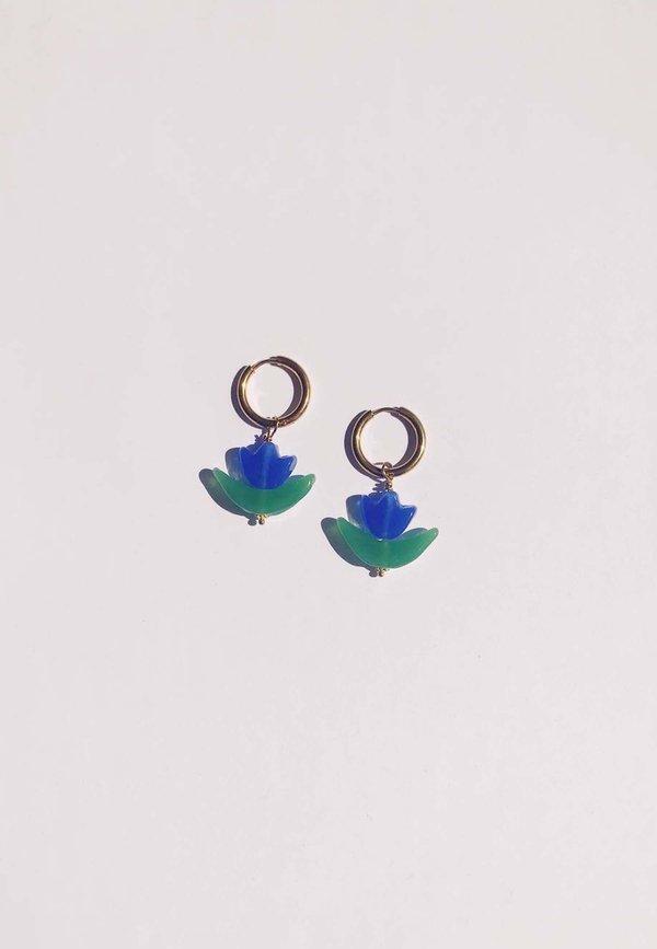 Ninfa Handmade Tulipán Earrings - Sky/Gold
