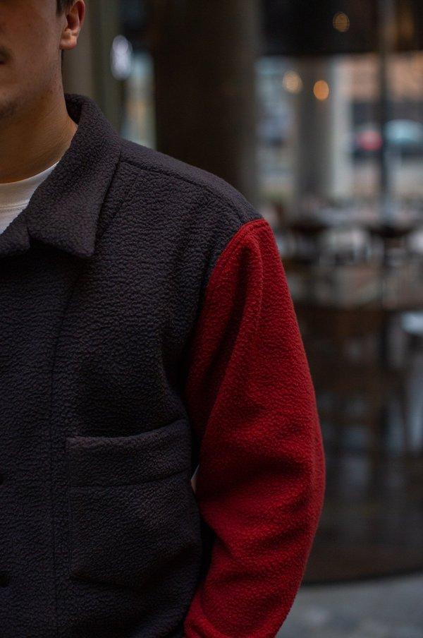 FOUR HORSEMEN Asymmetric Fleece Overshirt - Charcoal/Red