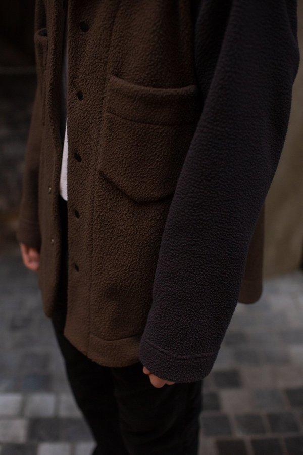 FOUR HORSEMEN Asymmetric Fleece Overshirt - Moss/Charcoal