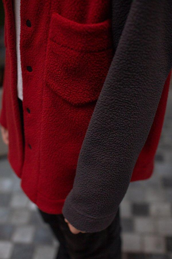 FOUR HORSEMEN Asymmetric Fleece Overshirt - Red/Charcoal