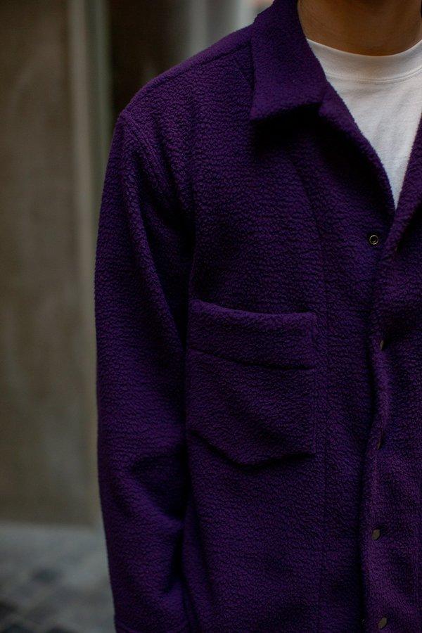 FOUR HORSEMEN Asymmetric Fleece Overshirt - Purple/Oatmeal
