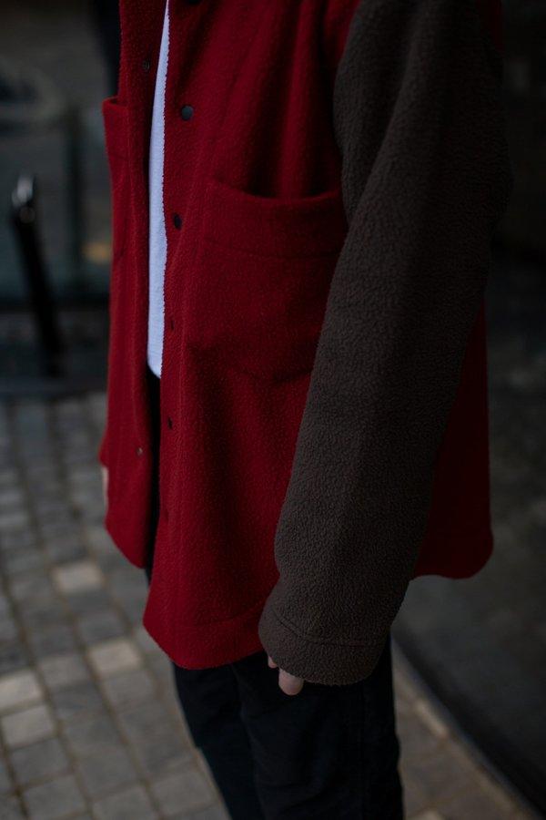 FOUR HORSEMEN Asymmetric Fleece Overshirt - Red/Moss