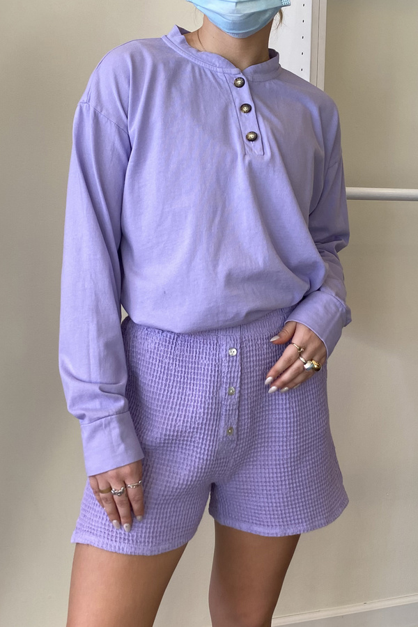 Donni. Henley Tee Long Sleeve - Lilac