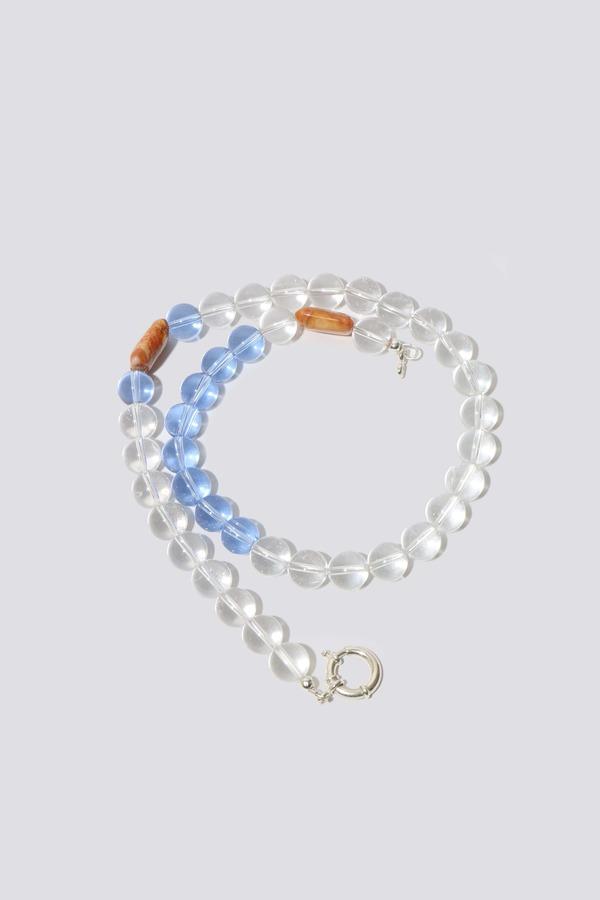 Clare Moore Quartz Glass Necklace - clear
