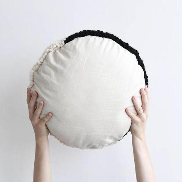Hello Happy Handmade Yin Yang Pillow - bkack/white