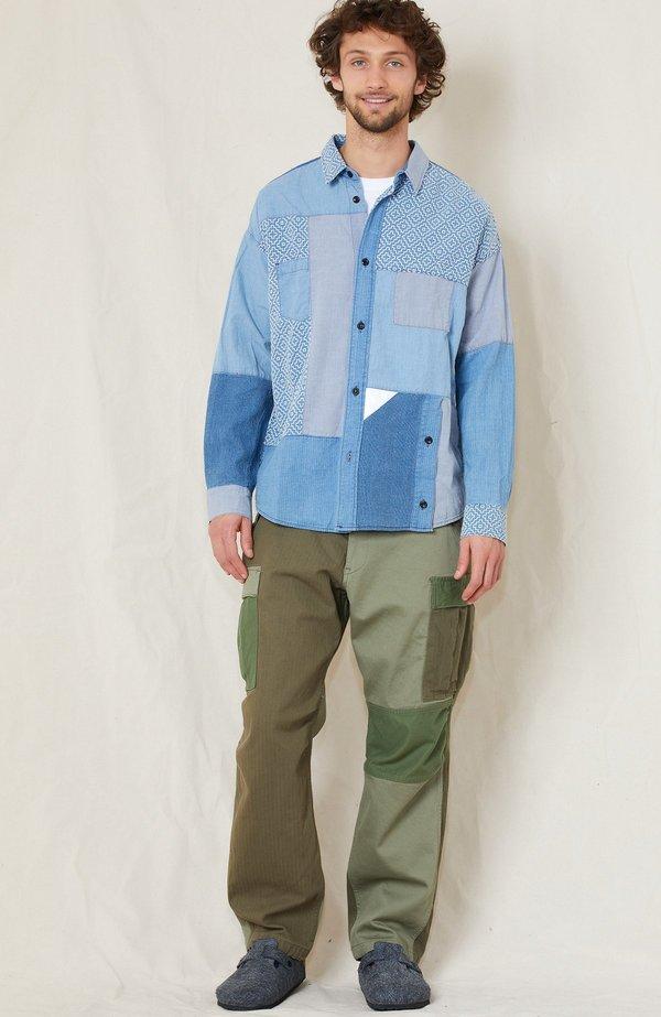 FDMTL Boro Patchwork Shirt - INDIGO