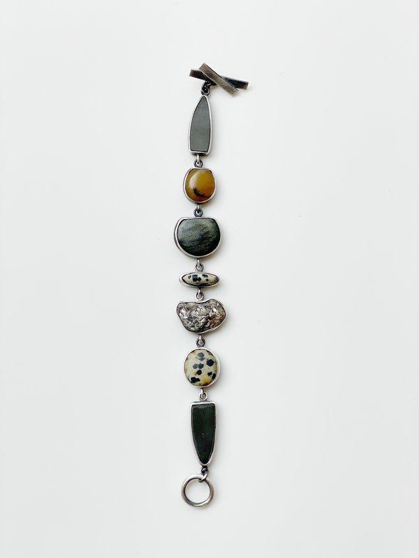 Black and Neutral Stone Bracelet by Terri Logan