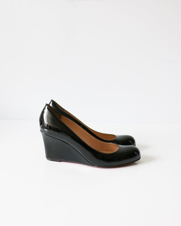 Christian Louboutin Patent Leather Wedges, Size 37