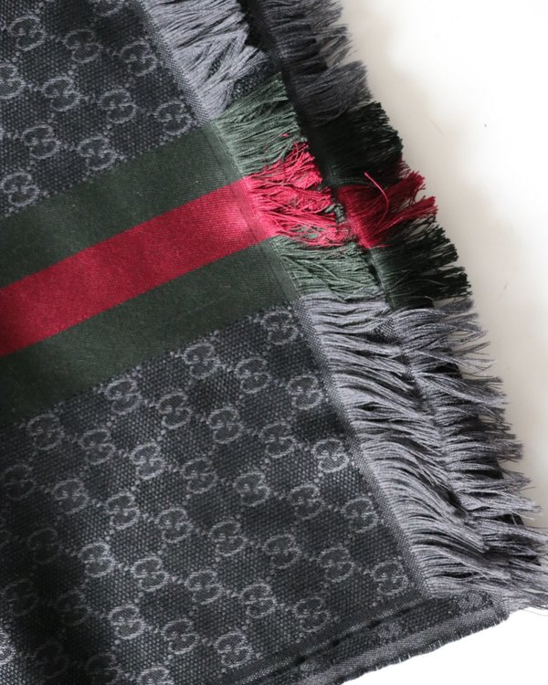 [Pre-loved] Gucci Jacqaurd Logo Stripe Scarf