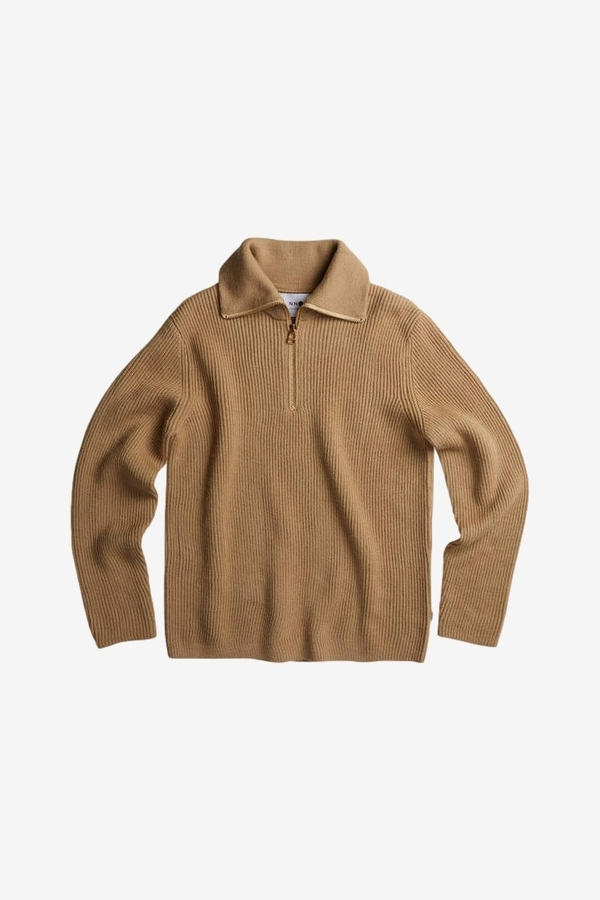 NN07 Holger Wool Half-Zip Sweater - Camel