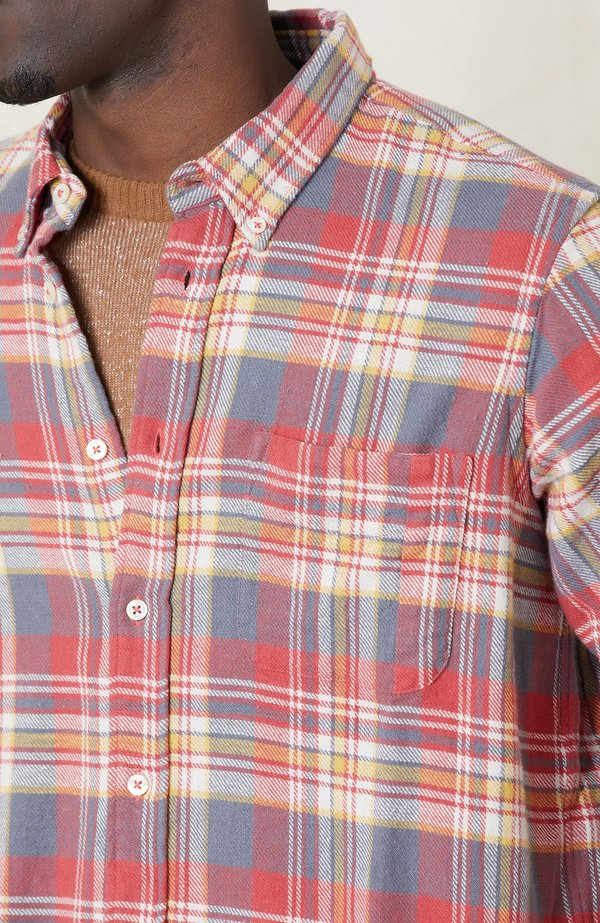 PRESIDENTS Chatham Japan Check Washed Shirt - RED/WHITE B43