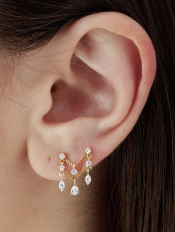 Maria Tash Diamond Round Marquise and Pear Chain Orbital earrings - Gold