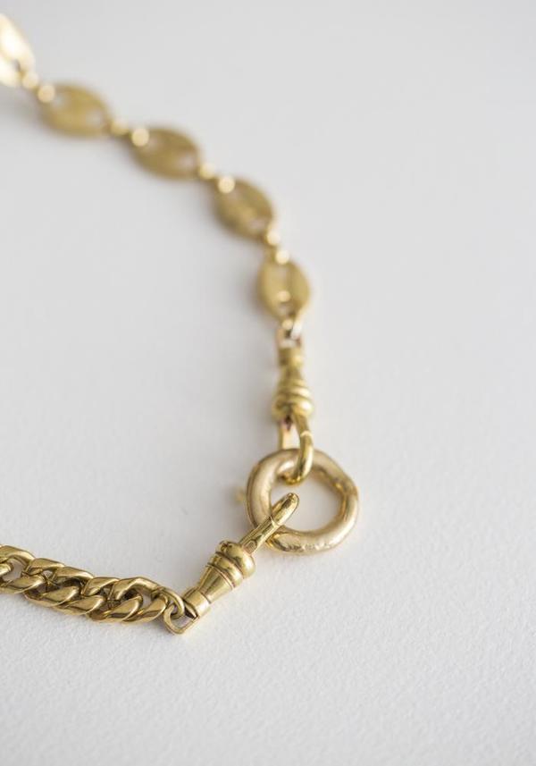 Water Sand Stone Grasp Necklace - Brass