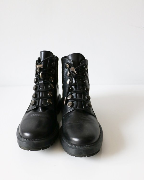 Pre-loved Aquatalia Leather Quilted Combat Boots - Black