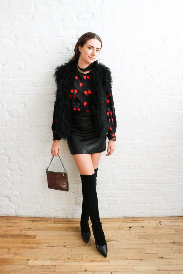 PRE-LOVED Black Suede Mongolian Fur Vest - Black