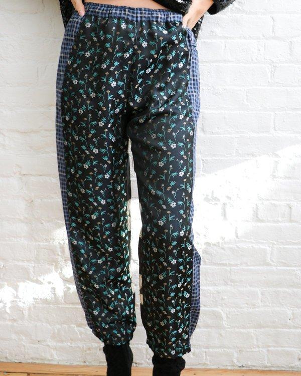 Hache Patchwork Plaid & Floral Joggers, Size 40