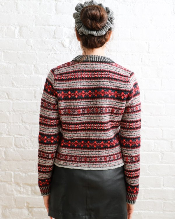 PRE-LOVED Rag & Bone Embroidered Knit Crop Sweater - Red/grey