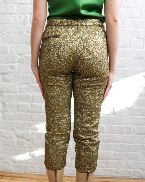 Pre-loved rochas Metallic Jacquard Trousers - Gold