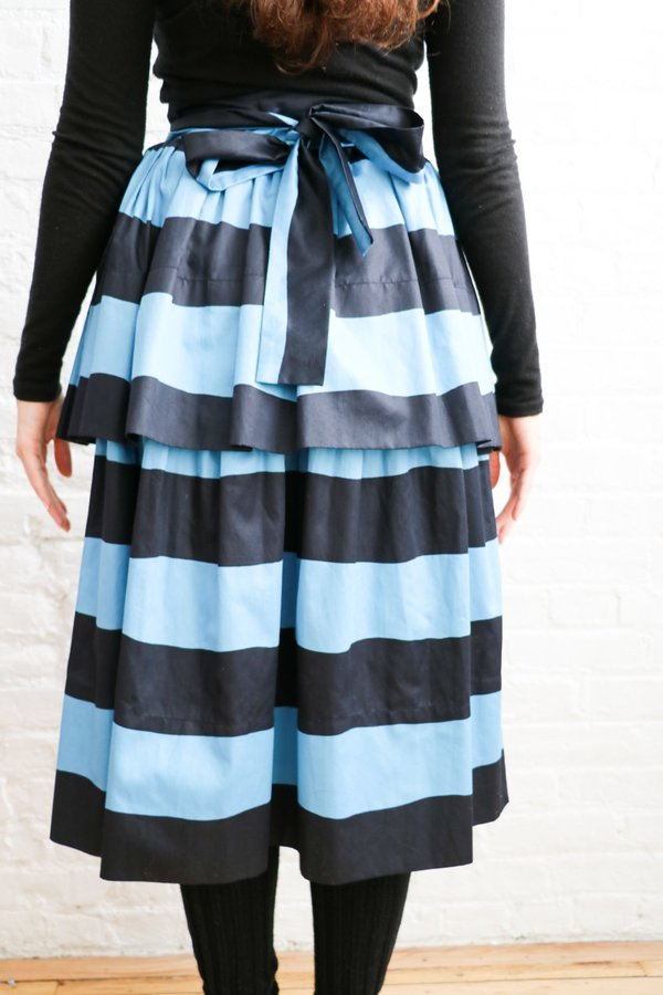 Vintage Saint Laurent Rive Gauche Striped Tiered Skirt, Size 36