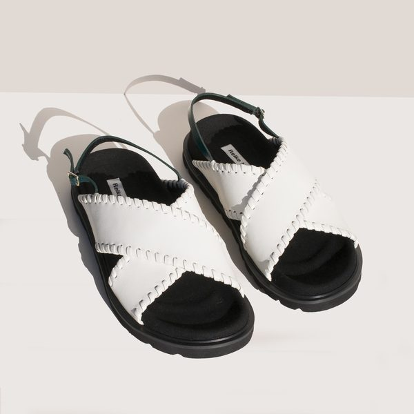 Reike Nen X Strap Mold Sandals - Off White/Green