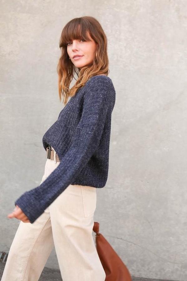 Lumiere Cuffed Sleeve Sweater - Navy