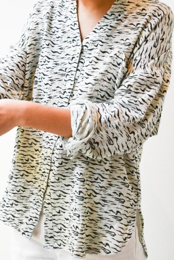 at Dawn. Cotton Gauze Shirt - Zebra