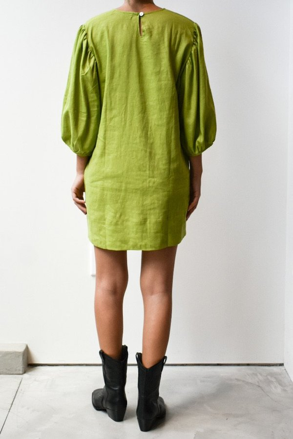 at Dawn. Puff Sleeve Short Dress - Dark Citron