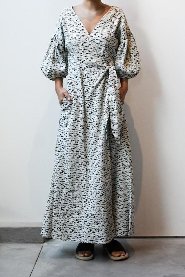 at Dawn. Puff Sleeve Wrap Dress - Zebra