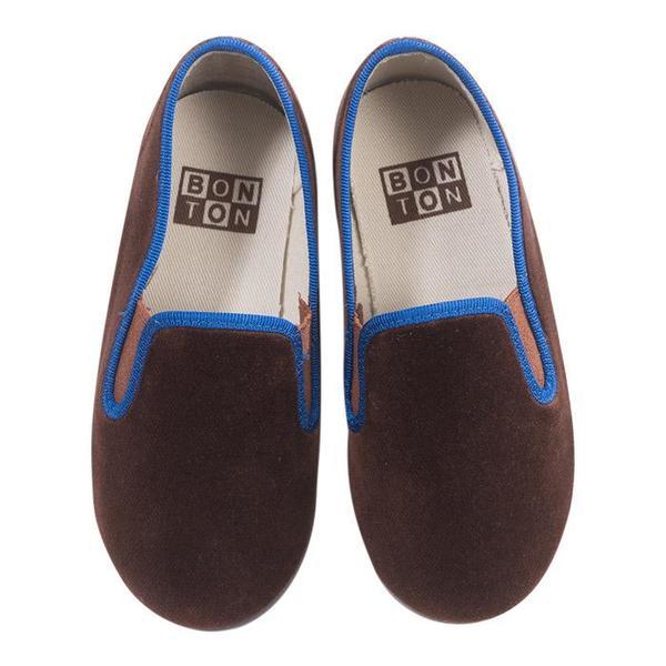 KIDS Bonton Child Velour Loafers - Brown