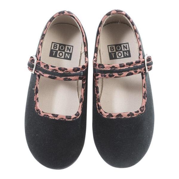 KIDS Bonton Child Velour Mary Jane Shoes - Grey