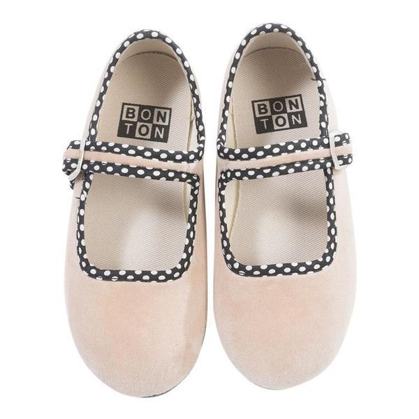 KIDS Bonton Child Velour Mary Jane Shoes - Pink