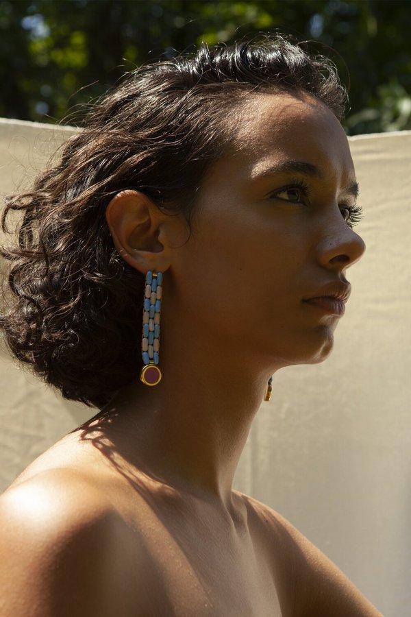 Glass Bead Earrings in Blue/Lavender