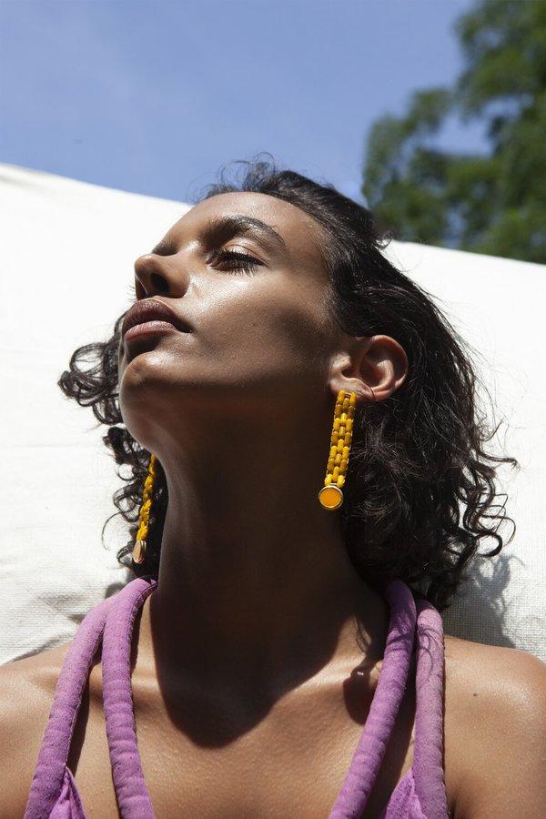 Glass Bead Earrings in Yellow