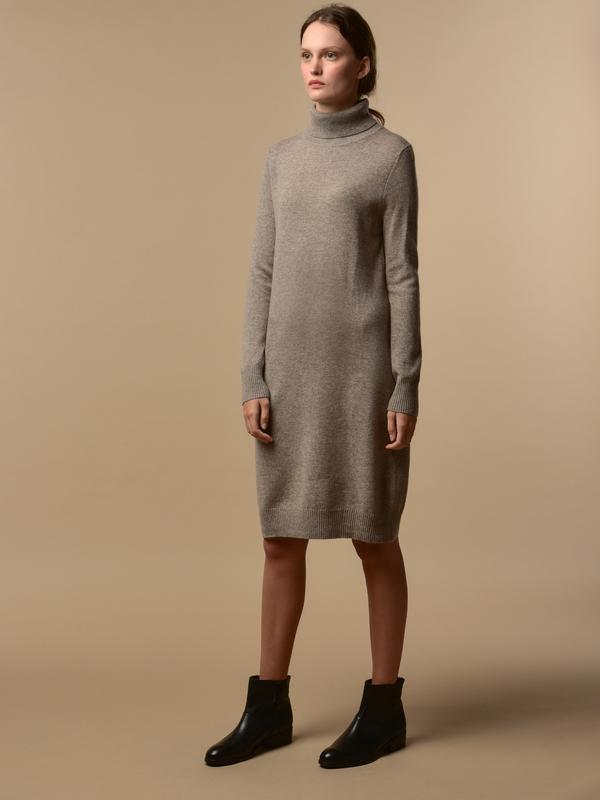 Pure Cashmere NYC Turtleneck Dress - Beige