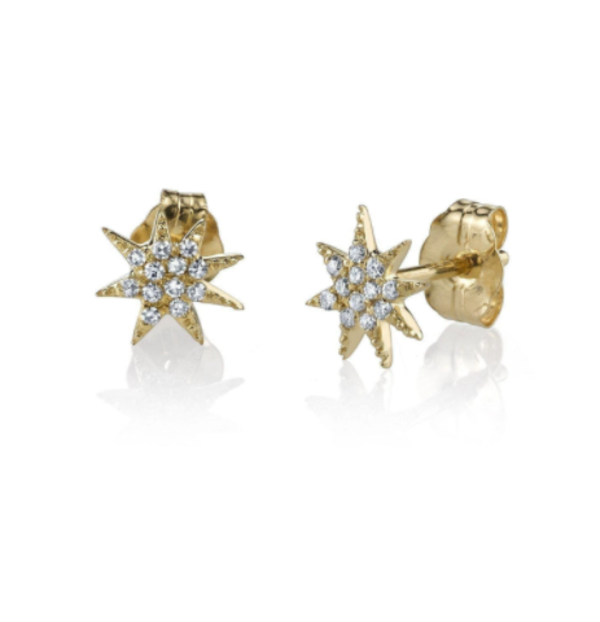 Gabriela Artigas Single Star White Pave Diamonds Earrings - 14k Yellow Gold