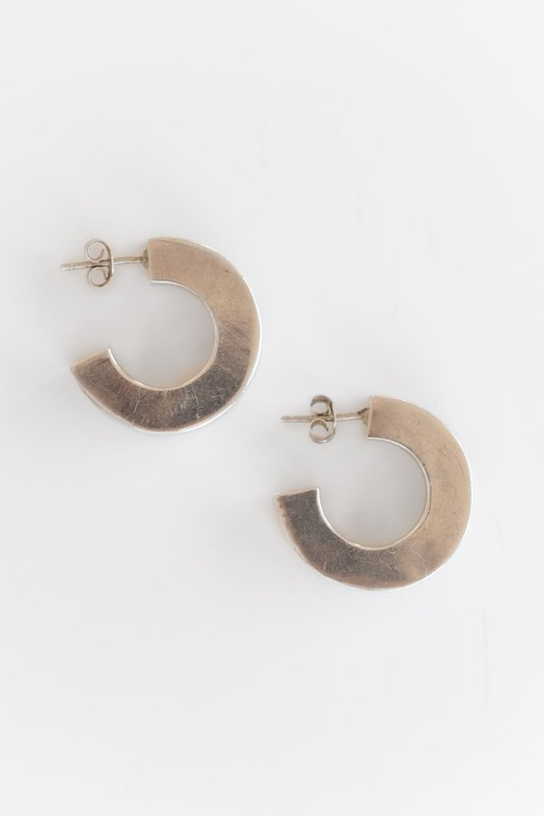 Vintage CHUNKY SQUARE HOOPS - STERLING