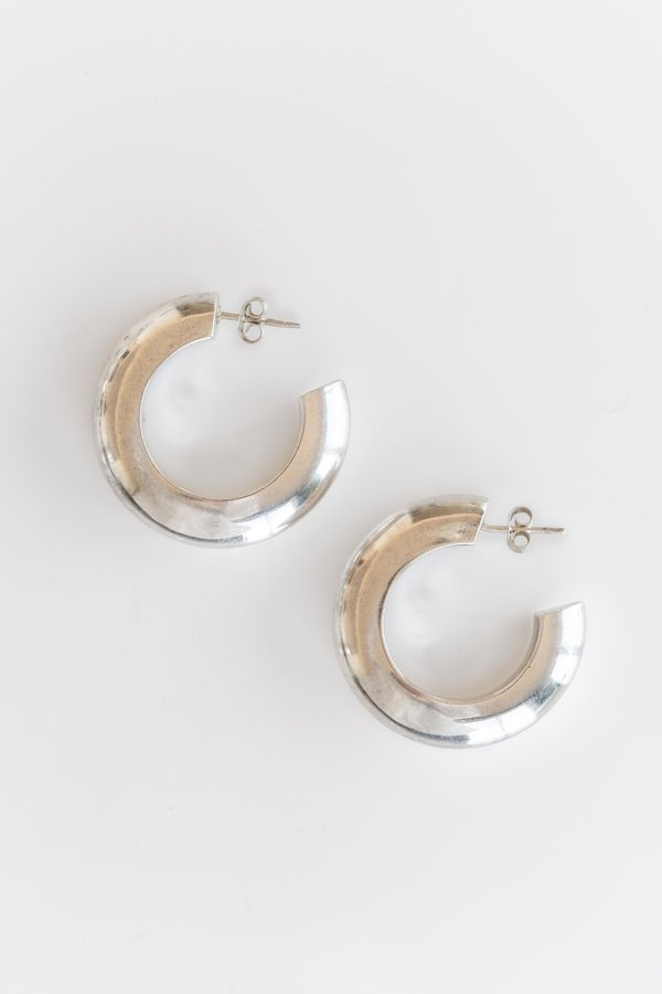 Vintage CHUNKY TRIANGLE HOOPS - STERLING