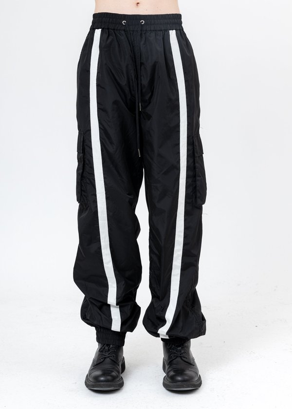 Black Nylon Trackpants