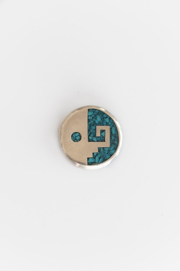 Vintage TURQUOISE ABSTRACT YIN YANG PIN - sterling silver