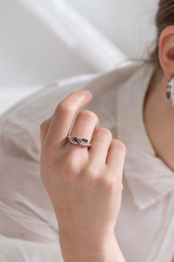 vintage unisex MACARONI RING - STERLING SILVER