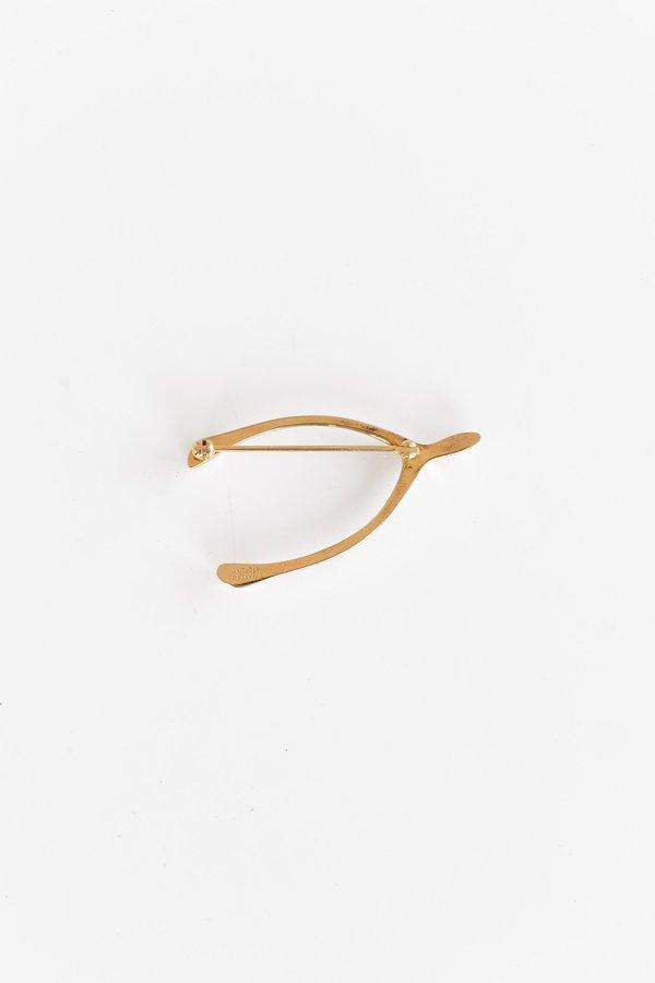 Vintage Tiffany Wishbone Pin - Gold Vermeil