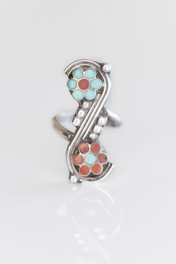 TURQUOISE + CORAL ZUNI INLAY DAISY RING