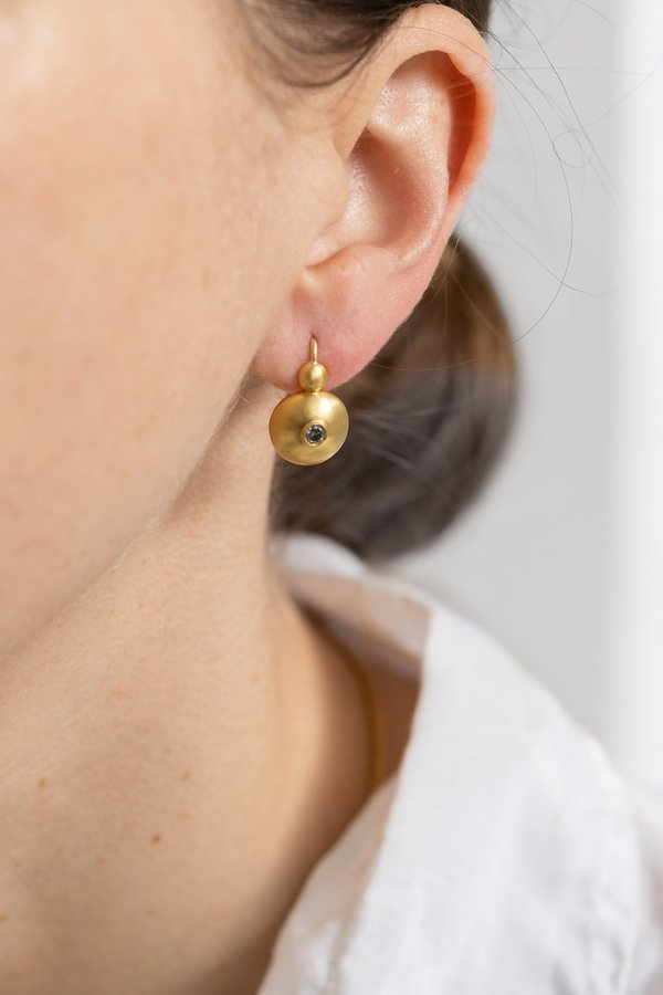 Prounis Small Diamond Bulla Hook Earrings