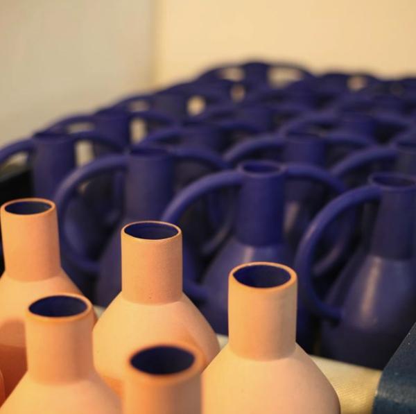 Sophie Alda Tall Bottle Vase - Pink